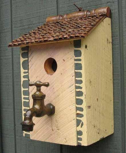 Birdhouse with Antique Faucet