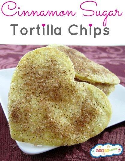 Baked Cinnamon Sugar Heart Tortilla Chips