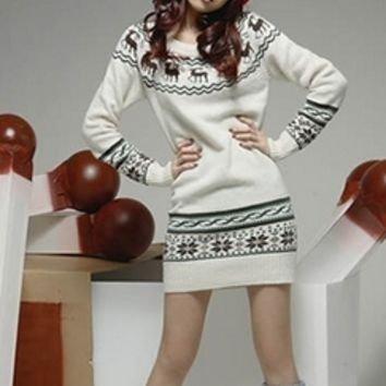 White Black Fair Isle Long Sleeve Sweater Mini Dress