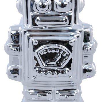 Silver Ceramic Robot Money Box