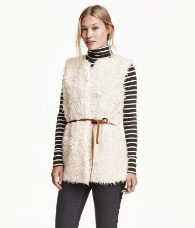 Natural White Faux Fur Vest