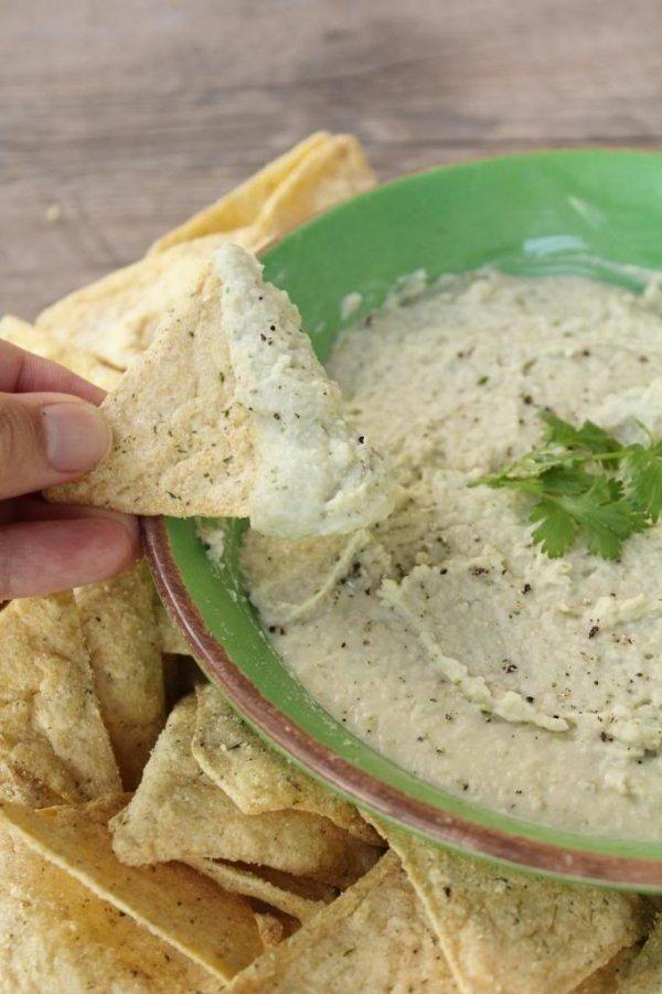 Wonton Chips and White Bean Dip