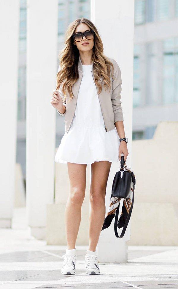 white, clothing, footwear, sleeve, spring,
