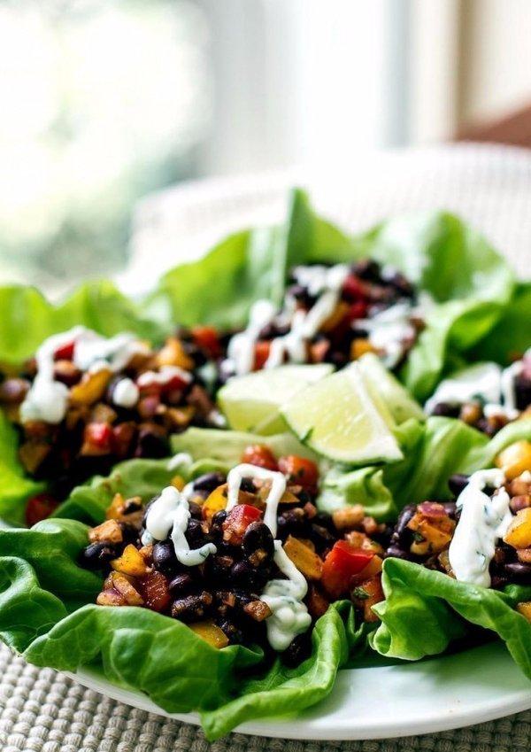 Spicy Black Bean Lettuce Wraps