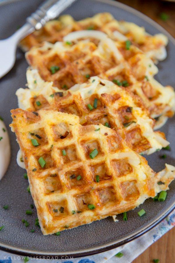 food, dish, meal, waffle, breakfast,