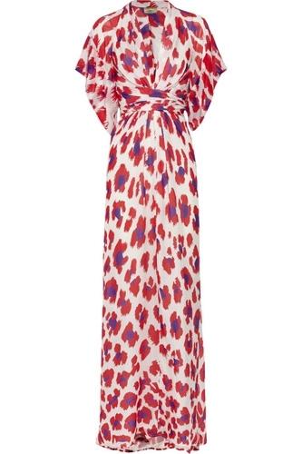 Issa Printed Silk-Chiffon Kimono-Style Dress