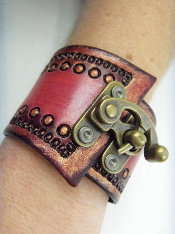 Tooled Leather Wrist Cuff