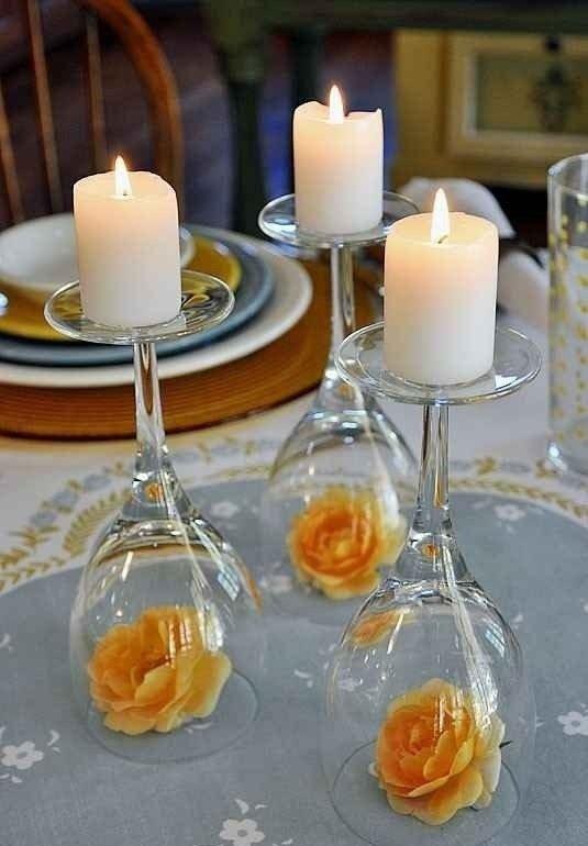 Wine Glass Candlesticks