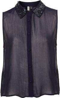 Topshop Sequin Collar Shirt