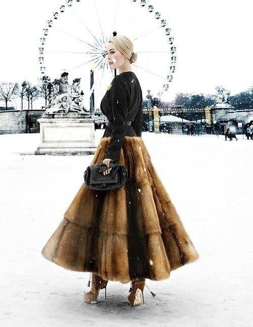 Fur Midi Skirt