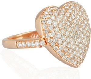 Anita Ko 18-Karat Rose Gold Diamond Heart Ring