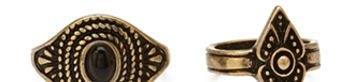 FOREVER 21 Etched Midi Ring Set Burnished Gold