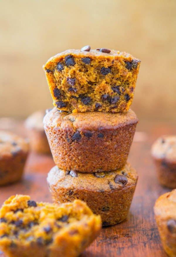 Pumpkin Spice Chocolate Chip Mini Muffins