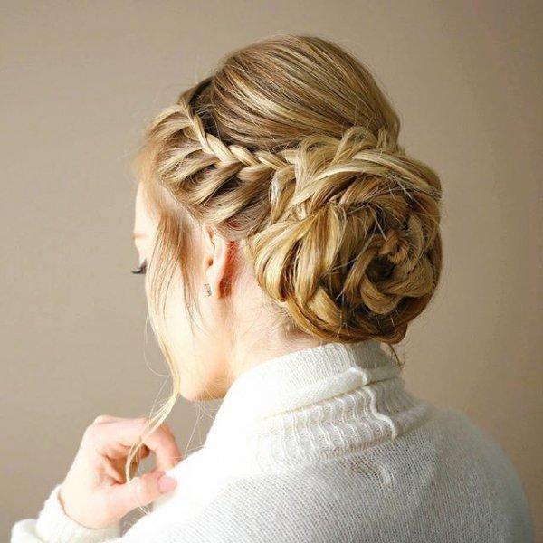 hair, hairstyle, french braid, bun, head,