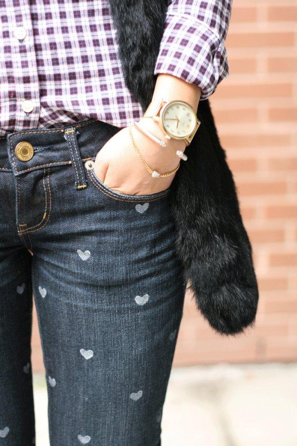 Heart Print Jeans
