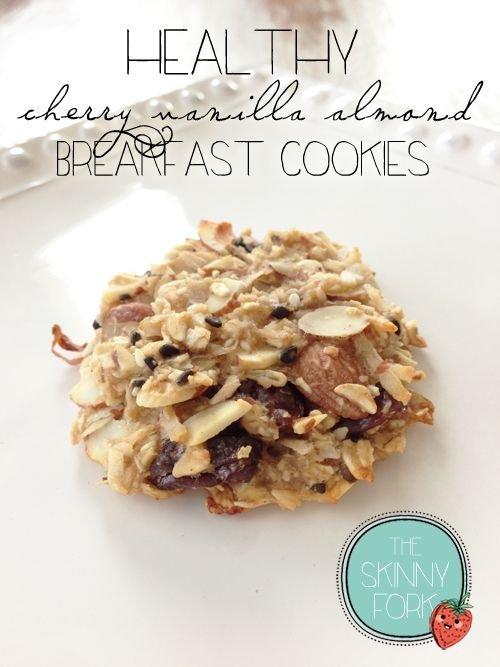 Healthy Cherry Vanilla Almond Breakfast Cookies