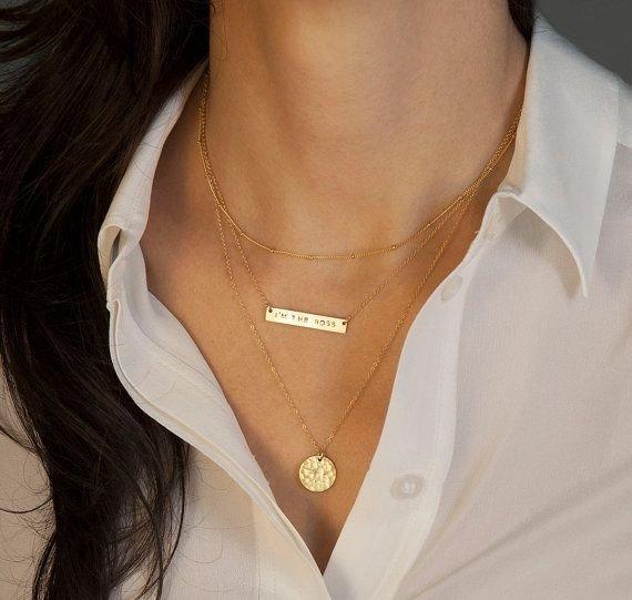Gold Bar Necklace Set