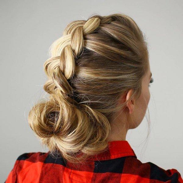 hair, hairstyle, blond, long hair, bun,