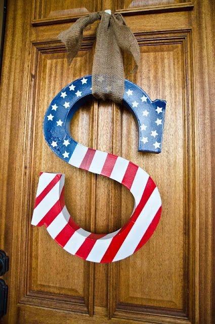 4th of July Monogram Wreath