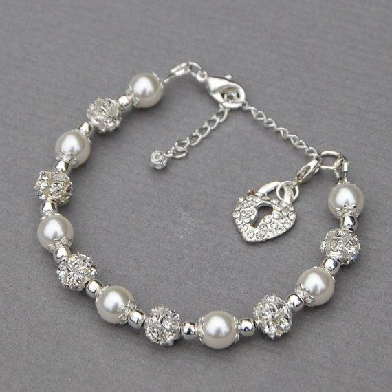 Rhinestone Heart Padlock Charm Bracelet