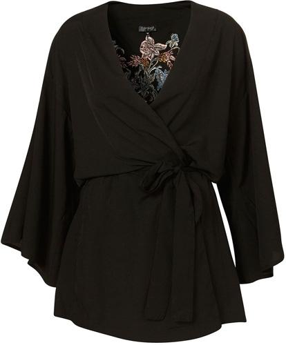 Topshop Black Embroidered Kimono