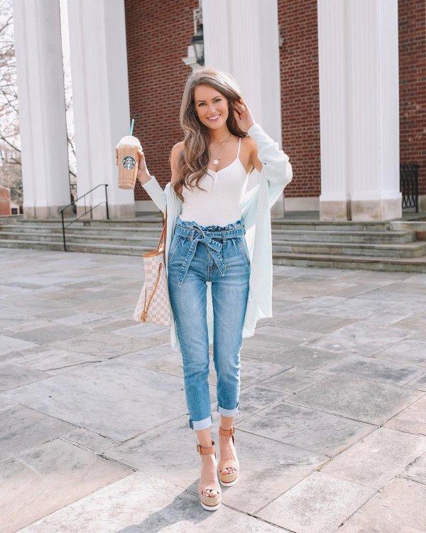 Jeans, Clothing, Denim, White, Shoulder,