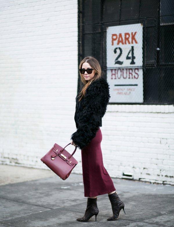Marsala Velvet Skirt
