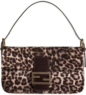 Fendi Leopard Print Pony Baguette Bag