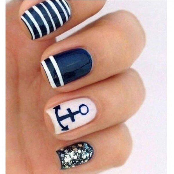 finger,nail,nail care,blue,nail polish, - 40 Awesome Beach Themed Nail Art Ideas To Make Your Summer Rock …