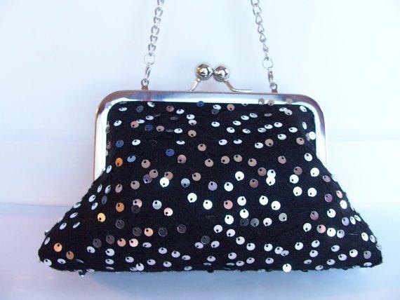 Black Lace & Shiny Sequins Kiss Lock Frame Clutch Purse