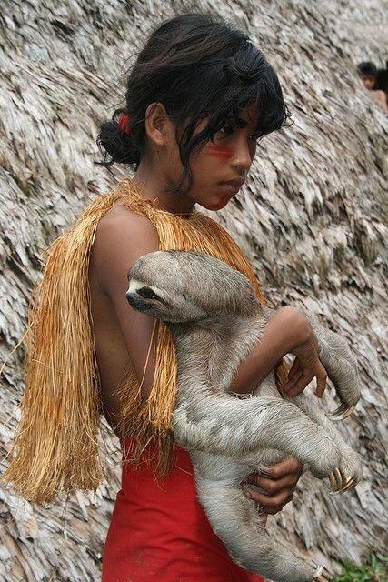 Yagua Indian Girl with Sloth in Amazonian Peru
