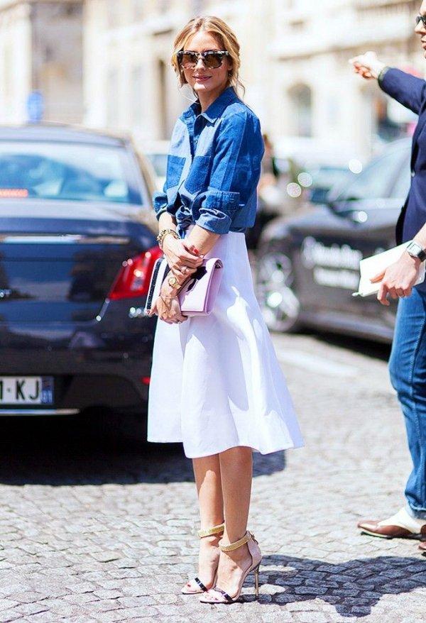 Olivia's Chambray Shirt + White Skirt