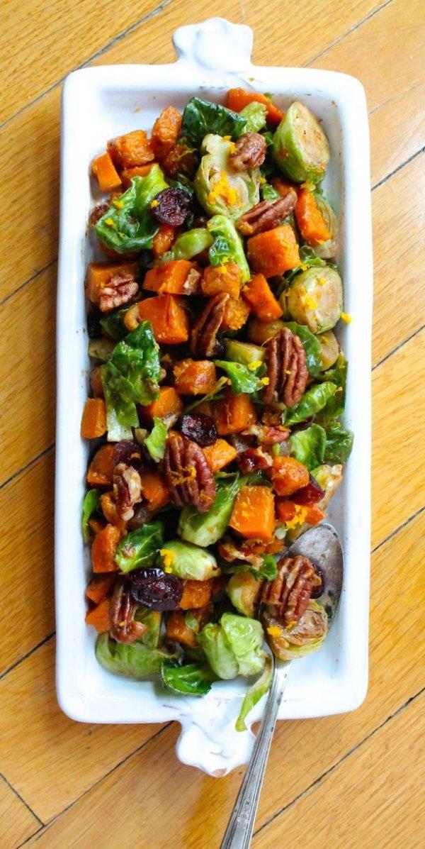 Orange Glazed Brussels Sprouts & Butternut Squash