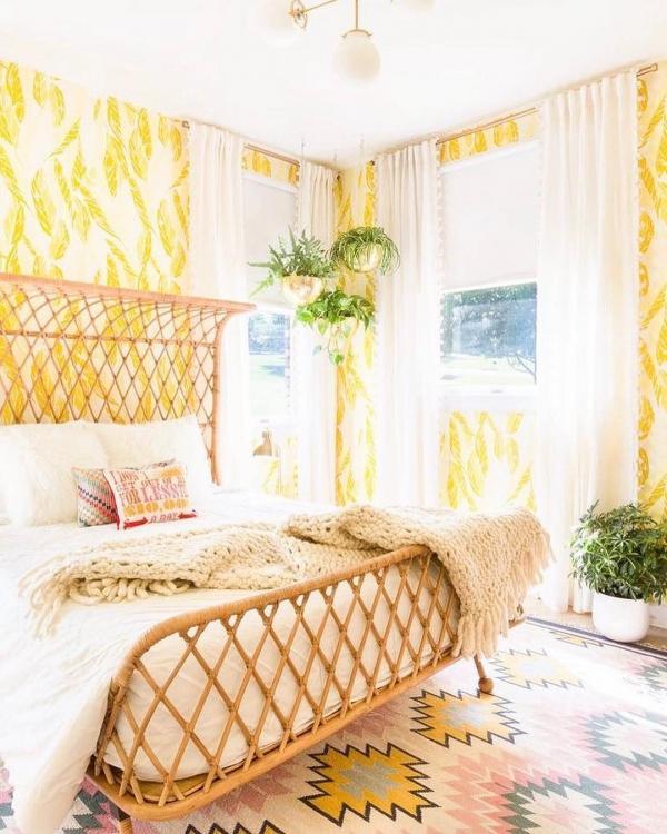 room, yellow, interior design, bed sheet, curtain,