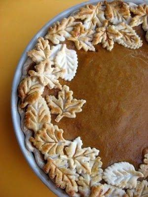 Pumpkin Pie with Pie Crust Leaves