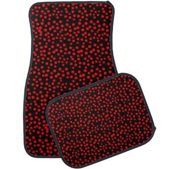 Red and Black Random Polka Dot Spots Car Mats