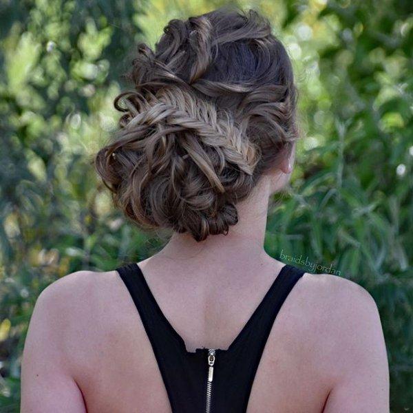 hair, hairstyle, chignon, dress, long hair,