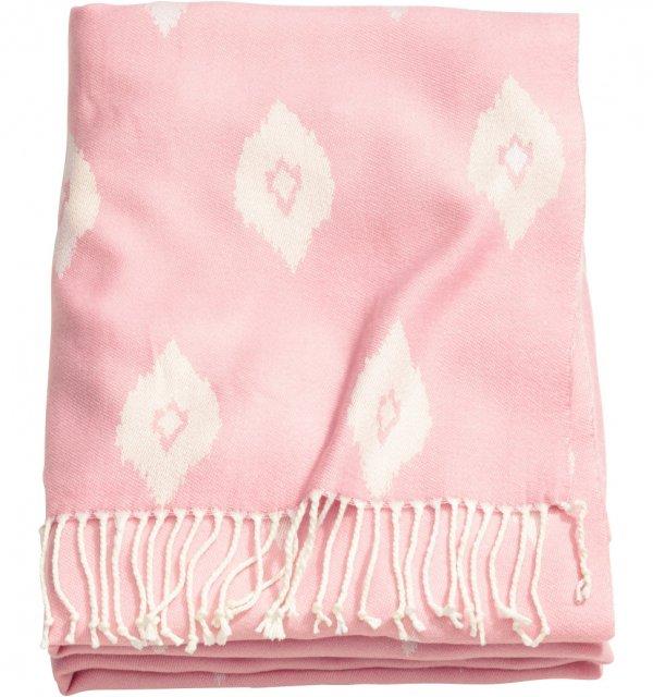 Pink Jacquard-Weave Throw