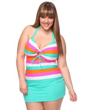 Forever 21+ Striped Tankini Top & Skirted Bottom