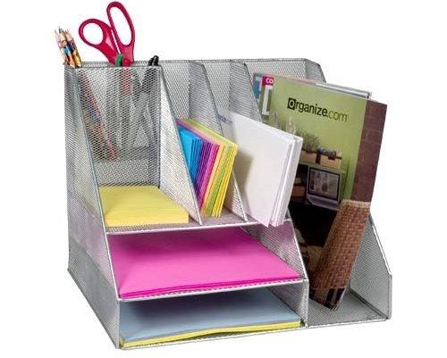 Silver Mesh Desk Organizer