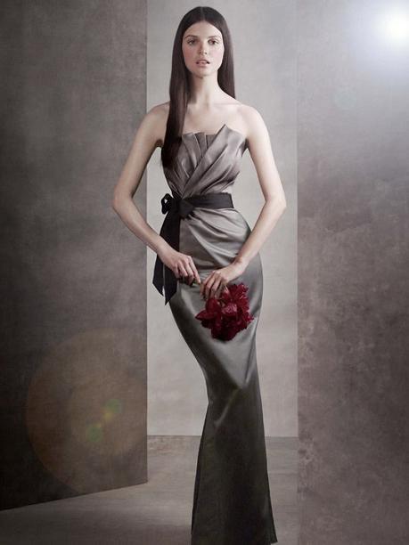 Long Draped Satin Dress...