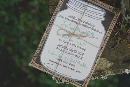 Mason Jar Rustic Wedding Invitation...
