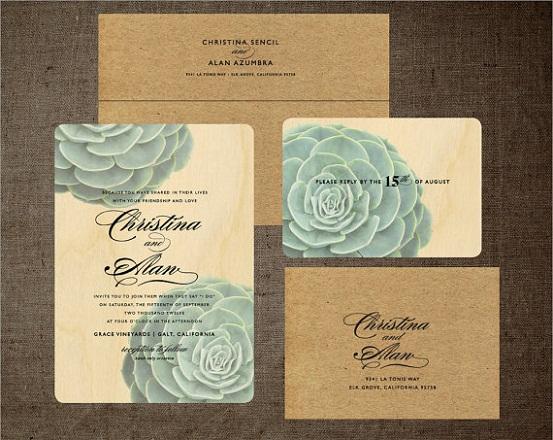 Succulent Rustic Wedding Invitation...