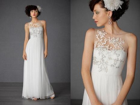 BHLDN Sheer Neckline Wedding Dress...