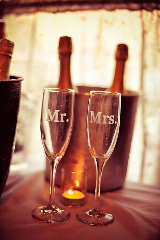 Mr. & Mrs. Champagne Flutes...