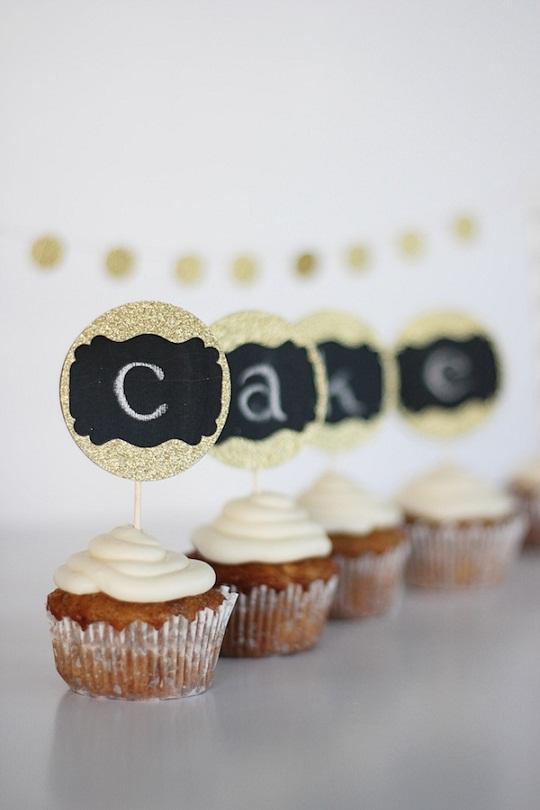 Chalkboard Wedding Cupcake Topper...