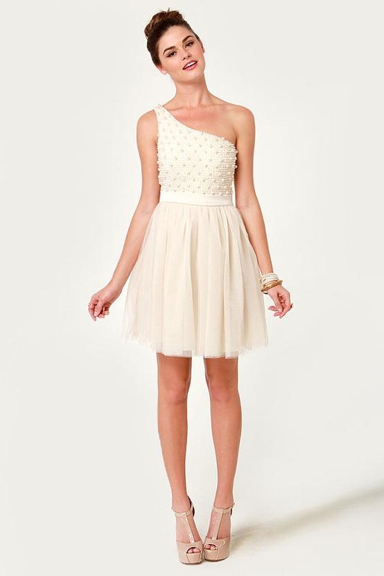 One Shoulder Elopement Dress...