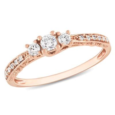 Three Stone Rose Gold Ring...