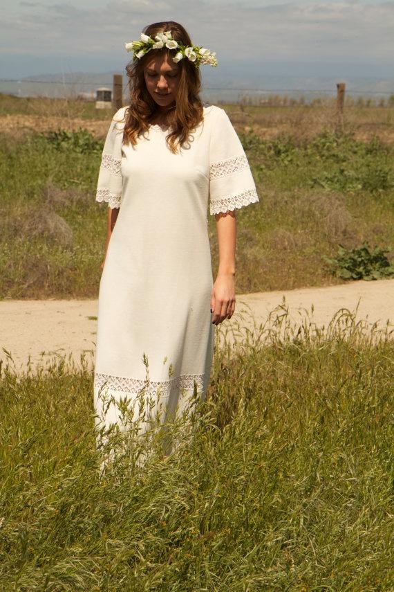 1970s Hippie Vintage Wedding Dress