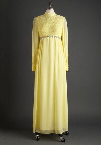 1970s Yellow Vintage Wedding Dress